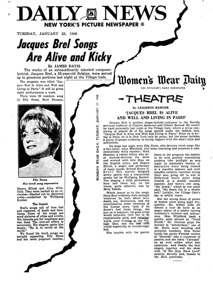 Jacques Brel Press Cutting